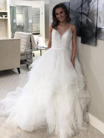Spaghetti Strap V Neck Sleeveless Wedding Dresses Lace Bridal Dresses,AP533
