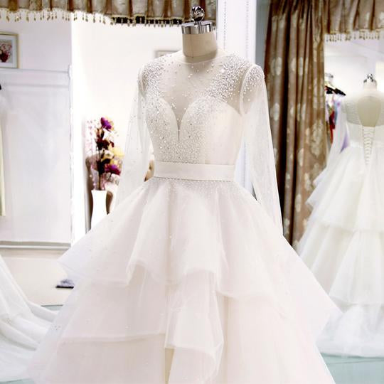 Long Sleeve Open Back Beaded Wedding Dresses Tiered Tulle Bridal Dresses,AP536