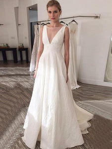 White V Neck Sleeveless Long Wedding Dresses A Line Bridal Dresses,AP544