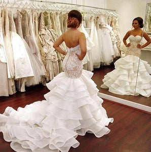 Sweetheart Tiered Mermaid Wedding Dresses Sleeveless Bridal Dresses,AP551