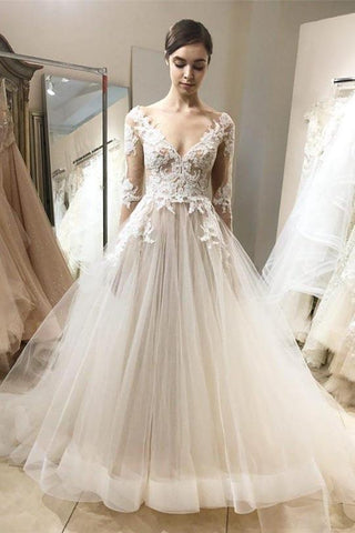 V Neck Long Sleeve Lace Appliques Wedding Dresses Long Bridal Dresses,AP573