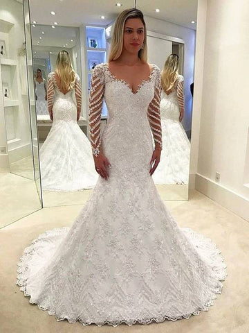 V Neck Long Sleeve Lace Beaded Wedding Dresses Mermaid Bridal Gown,AP577