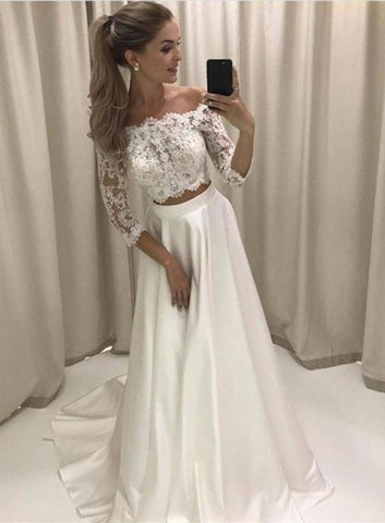 Two Piece Off Shoulder Long Sleeve Wedding Dresses Lace Bridal Dresses,AP578