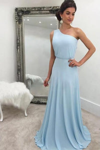 Simple Blue One Shoulder Sleeveless Chiffon Bridesmaid Dresses,AP635