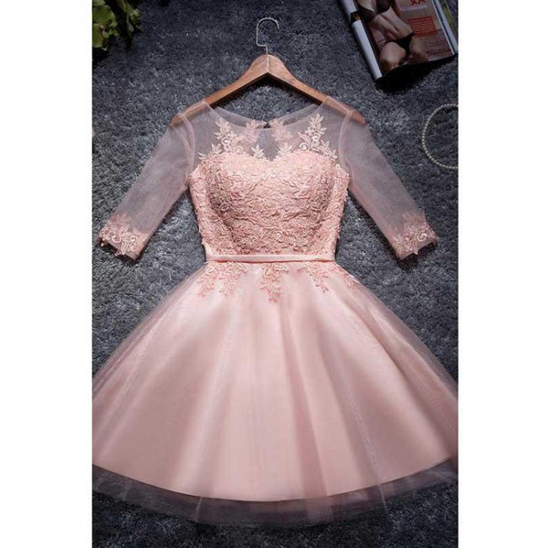 Appliques Homecoming Dresses, Pink Homecoming Dresses, Cute Homecoming Dresses,AP652