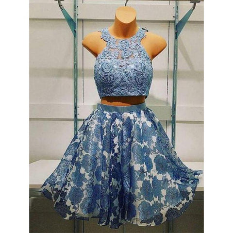 A-Line Homecoming Dresses, Homecoming Dresses Two Piece, Sleeveless Homecoming Dresses, Appliques Homecoming Dresses ,AP658