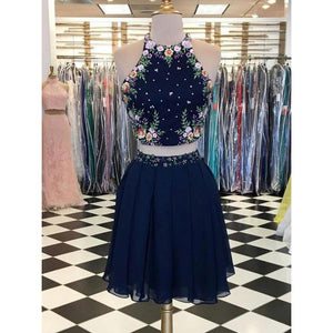 Navy Blue Homecoming Dresses, Homecoming Dresses Sexy, Homecoming Dresses Two Piece, Short Homecoming Dresses ,AP667