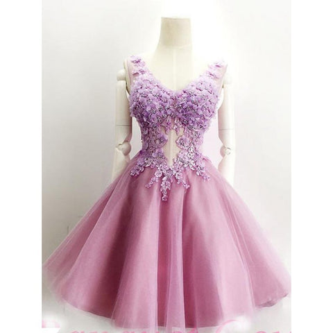 Homecoming Dresses Short, Appliques Homecoming Dresses, A-Line Homecoming Dresses ,AP669