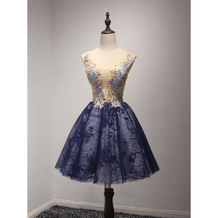 Blue Homecoming Dresses, Short Homecoming Dresses, Sleeveless Homecoming Dresses, Homecoming Dresses For Cheap,AP676