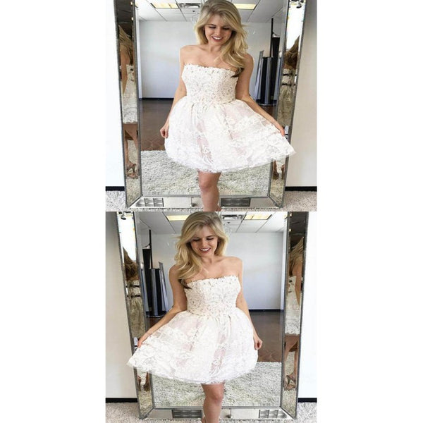 A-Line Homecoming Dress, Appliques Homecoming Dress, White Homecoming Dress,AP683