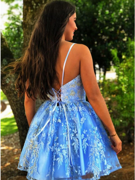 A Line Spaghetti Straps Blue Criss-Cross Homecoming Dress With Appliques,AP701