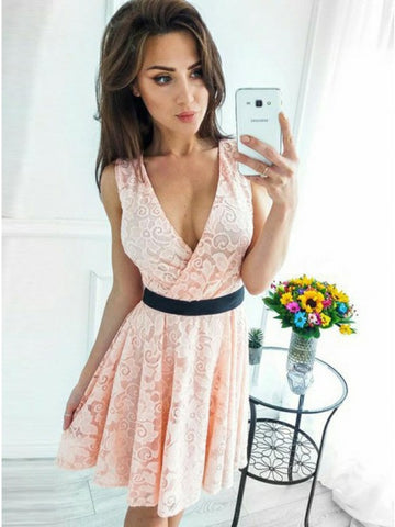 Stunning V-neck Blush Pink Lace Homecoming Dress with Black Sashes,AP753
