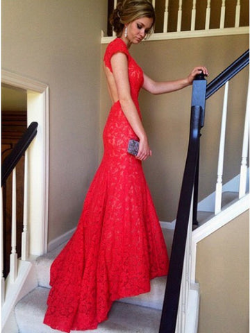 Mermaid V-Neck Cap Sleeves Sweep Train Open Back Red Lace Prom Dress,AP816