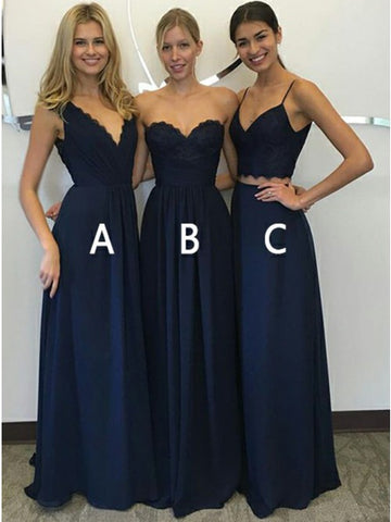 A-Line V-Neck Floor-Length Dark Blue Chiffon Prom Bridesmaid Dress with Lace,AP819
