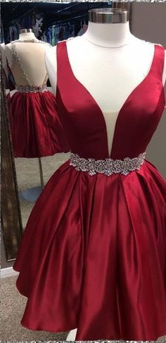Burgundy homecoming dress, V-Neck prom dress, backless prom dress, short homecoming gowns, A-Line prom gowns ,E0008