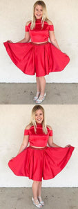 Discount Morden Two Pieces Homecoming Dresses, Homecoming Dresses A-Line, Homecoming Dresses Red,B0009