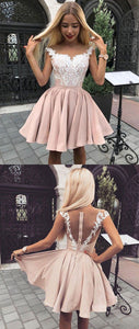 Cute pink lace short prom dress, pink homecoming dress, pink lace formal dress,B0010