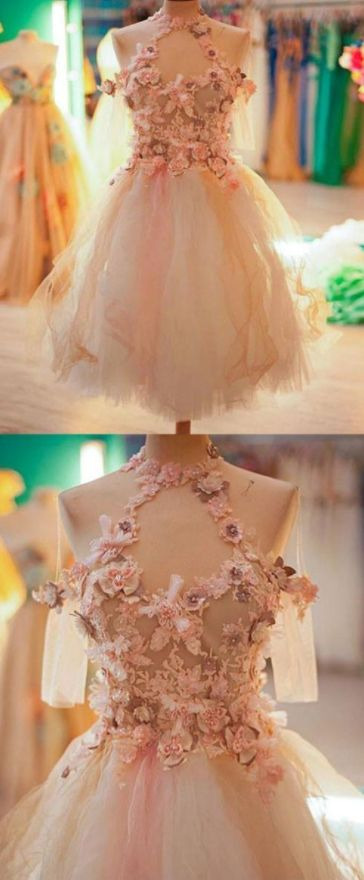 A-Line Jewel Knee-Length Tulle Homecoming Dress,Cocktail Dress With Flowers,B0016