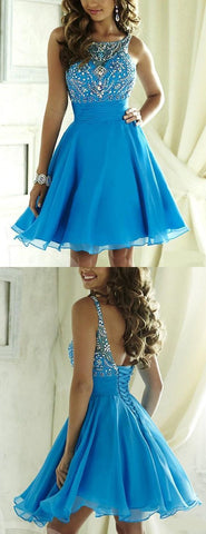Blue Short Chiffon Homecoming Dress with Bateau Neck Sleeveless Beading Lace-up,B0021