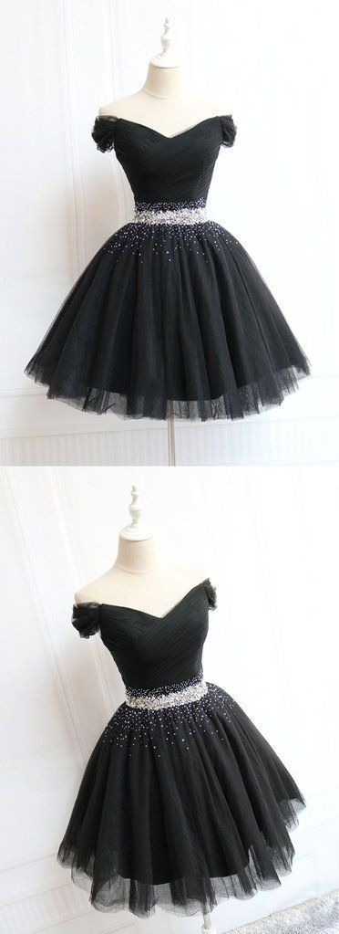 Beautiful Cute Charming Black Tulle V Neck Beaded Short Prom Dress, Black Homecoming Dress,B0023