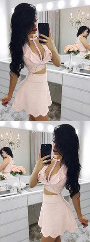 Engrossing Homecoming Dress Pink, Homecoming Dress Lace, Homecoming Dress Two Piece ,B0024