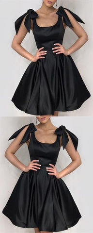 Elegant Black Bow Shoulders Ruffles Satin Homecoming Dresses,B0025