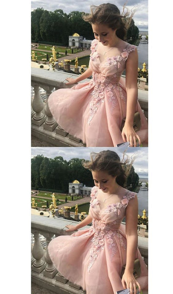 Blush Pink V Neck Sleeveless Appliques Short Homecoming Dresses,Cheap Grad Dress With Flower, A-line Party Dresses,B0031