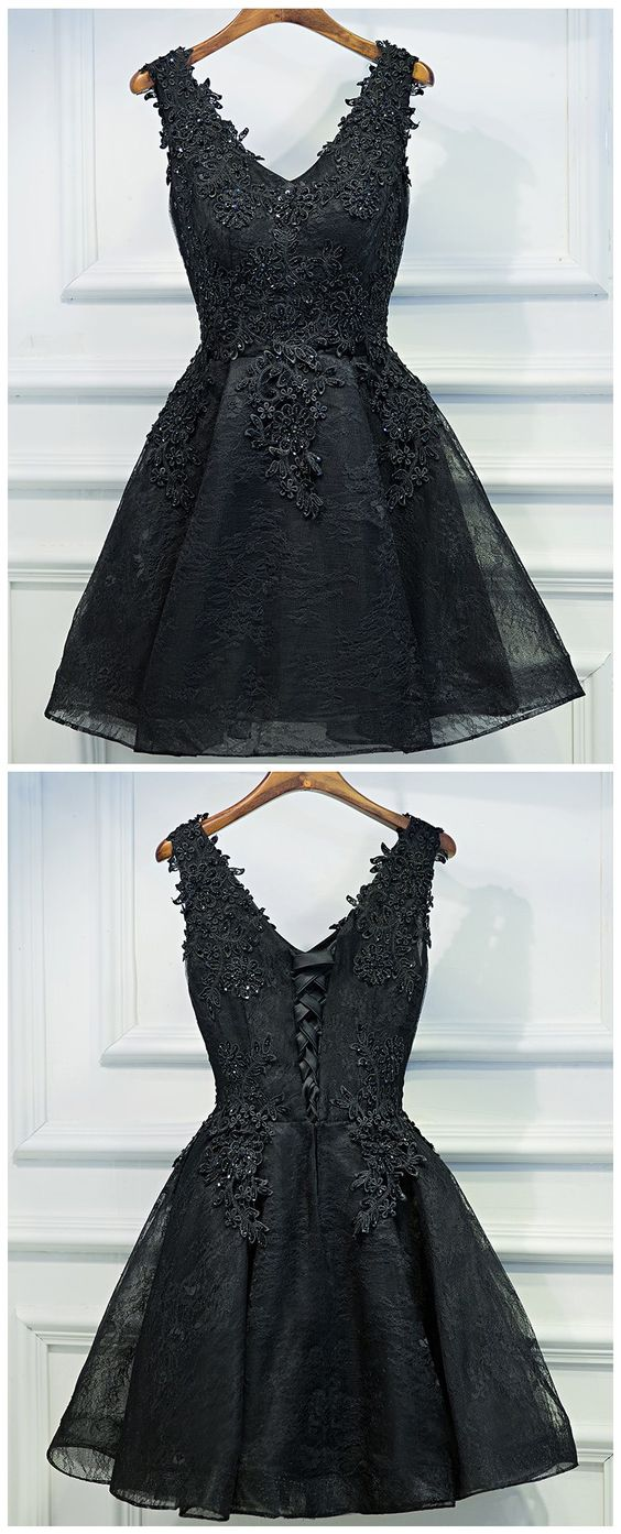 Black Short Prom Dress, Black Lace Prom Dress, Little Black Dress, Black Homecoming Dress,B0035