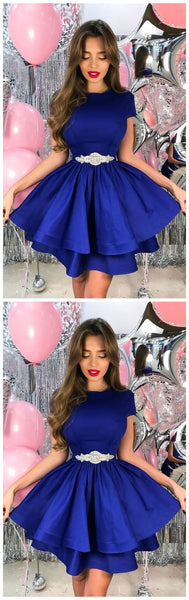 A-Line Crew Short Homecoming Dress,Royal Blue Tiered Homecoming,B0038