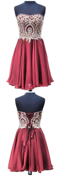 Gorgeous Short Graduation Dresses A-line Sweetheart Gold Lace Mini 8th Grade Prom Burgundy Homecoming Dresses,B0041