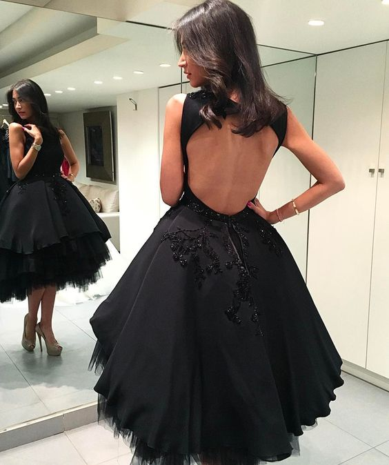 Black Party Dress,open Back Homecoming Dress,short Mini Ball Gowns,prom Dresses,B0043