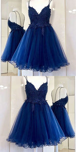 A-Line Spaghetti Straps Dark Blue Short Prom Dress with Appliques,B0051