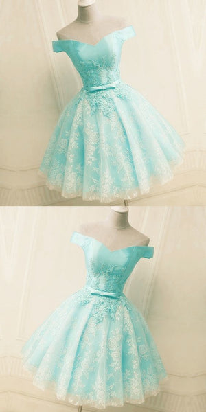 Green Off the Shoulder Appliques Short Homecoming Dress, Tulle Prom Dress,B0056