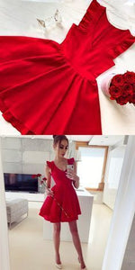 Lovely Cute Red Prom Dress, Short Homecoming Dress, Mini Party Dress,B0058