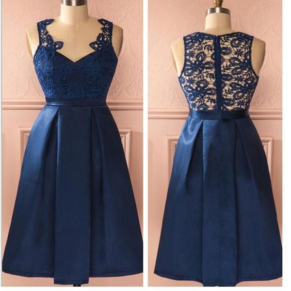 Blue vintage lace simple unique style homecoming prom dress,B0067