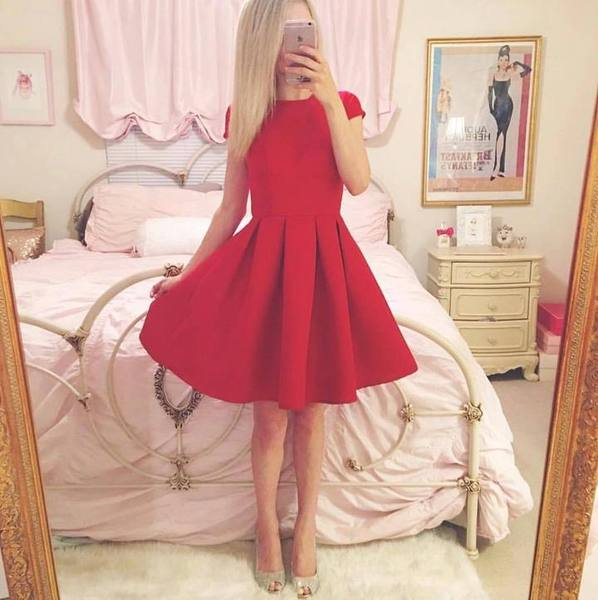 Elegant Satin Red Sleeveless Short A-line Homecoming Dress,B0071
