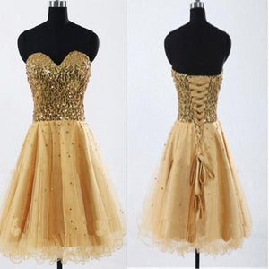 Gold Sequin sweetheart sparkly Rehearsal sweet 16 casual homecoming prom gowns dress,B0072