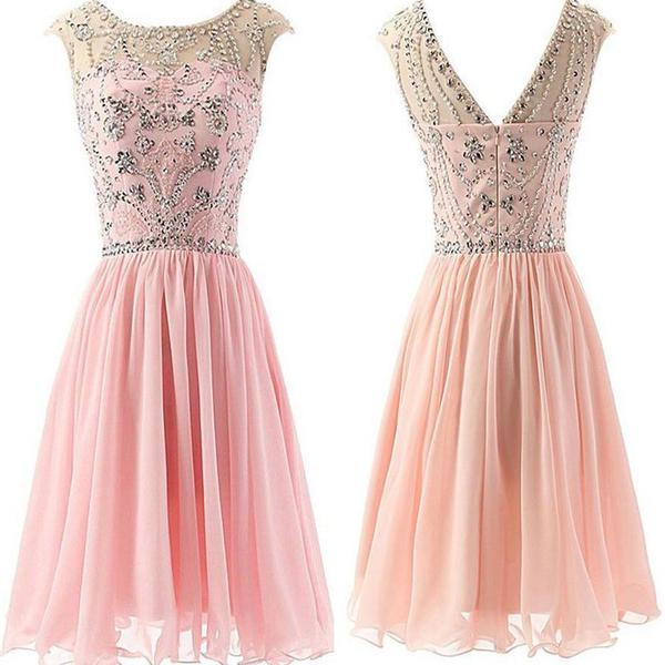 Blush Pink Chiffon Elegant fashion cute graduation casual party homecoming dresses,B0073