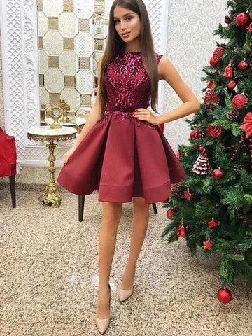 A-Line Burgundy Satin Sequins Homecoming Dress With Sash,Short Prom Dresses,B0086