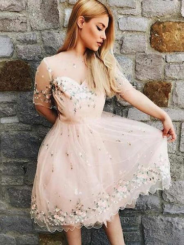 A-Line Bateau Pink Tulle Homecoming Dress With Appliques,Short Prom Dresses.B0091