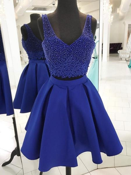 V Neck Beaded Royal Blue Two Piece Homecoming Dresses,B0095
