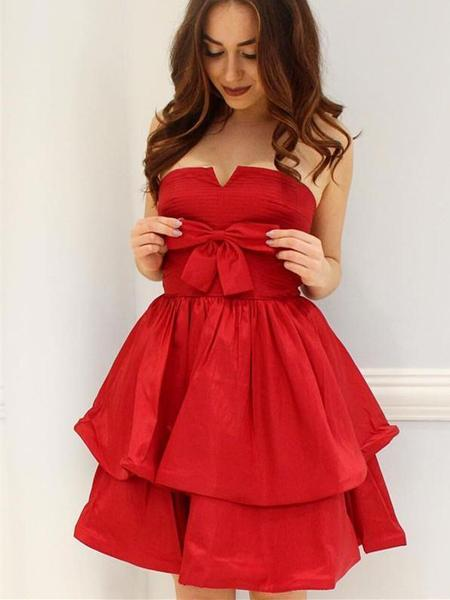 Elegant Red Simple Cheap Short Homecoming Dresses Online,B0097