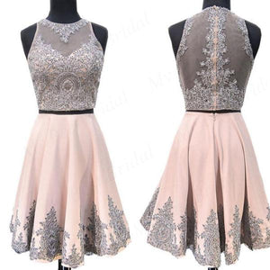 Shinning Two Piece Pink Beaded Homecoming Dresses With Lace Applique,Short Prom Dresses,B0100