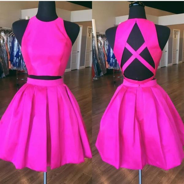 Sexy Open Back Hot Pink Two Piece Simple Cheap Homecoming Dresses,B0099