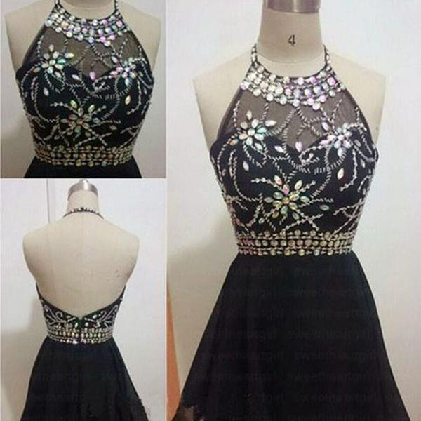 Black vintage halter open back unique sexy homecoming prom dress,B0103