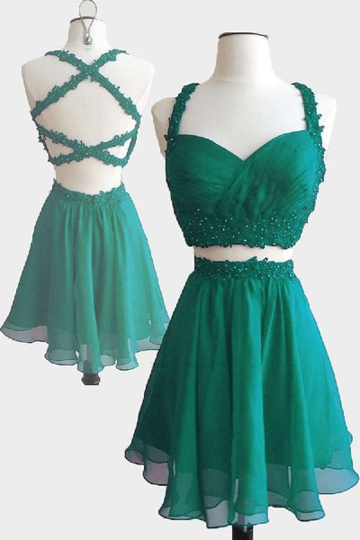 Outlet Dazzling Prom Dress Short, Cute Prom Dress, Green Prom Dress, Two Pieces Prom Dress,B0105