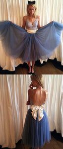 Cute Blue Lace V Neck Tulle Short Prom Dress With Bowknot,Homecoming Dress,B0125