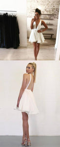 White Plunge V Sleeveless Short Homecoming Dress Featuring Open Back,B0126