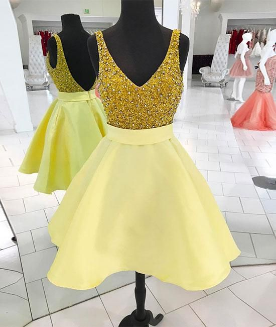 Yellow V-Neck Short Beaded Prom Dress,Sequined Cute Homecoming Dress,B0129