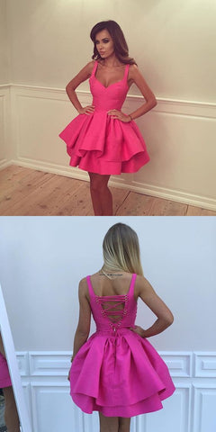 Cute Rose Red Sweetheart Homecoming Dress With Lace Up Back,Ruffles Short Party Dress,B0130